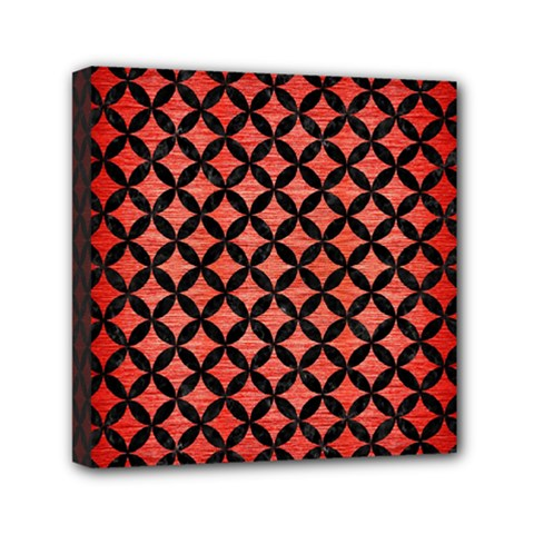 Circles3 Black Marble & Red Brushed Metal Mini Canvas 6  X 6  by trendistuff