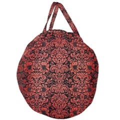 Damask2 Black Marble & Red Brushed Metal (r) Giant Round Zipper Tote by trendistuff