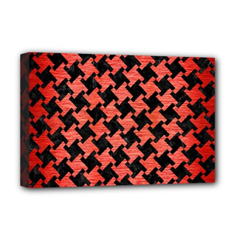 Houndstooth2 Black Marble & Red Brushed Metal Deluxe Canvas 18  X 12   by trendistuff