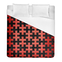 Puzzle1 Black Marble & Red Brushed Metal Duvet Cover (full/ Double Size) by trendistuff