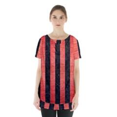 Stripes1 Black Marble & Red Brushed Metal Skirt Hem Sports Top by trendistuff