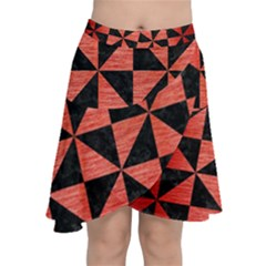 Triangle1 Black Marble & Red Brushed Metal Chiffon Wrap