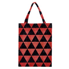 Triangle3 Black Marble & Red Brushed Metal Classic Tote Bag by trendistuff