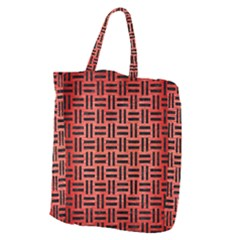 Woven1 Black Marble & Red Brushed Metal Giant Grocery Zipper Tote by trendistuff
