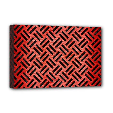 Woven2 Black Marble & Red Brushed Metal Deluxe Canvas 18  X 12   by trendistuff