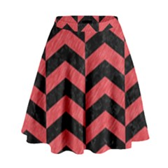 Chevron2 Black Marble & Red Colored Pencil High Waist Skirt by trendistuff