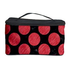 Circles2 Black Marble & Red Colored Pencil (r) Cosmetic Storage Case by trendistuff