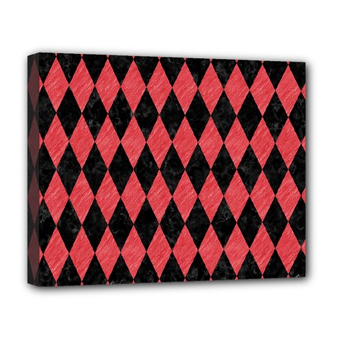 Diamond1 Black Marble & Red Colored Pencil Deluxe Canvas 20  X 16   by trendistuff