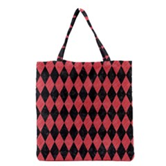 Diamond1 Black Marble & Red Colored Pencil Grocery Tote Bag by trendistuff