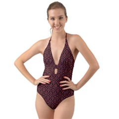 Hexagon1 Black Marble & Red Colored Pencil (r) Halter Cut Out One Piece Swimsuit