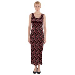 Hexagon1 Black Marble & Red Colored Pencil (r) Fitted Maxi Dress by trendistuff