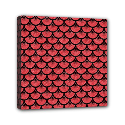Scales3 Black Marble & Red Colored Pencil Mini Canvas 6  X 6  by trendistuff