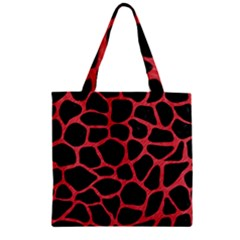 Skin1 Black Marble & Red Colored Pencil Zipper Grocery Tote Bag by trendistuff