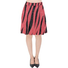 Skin3 Black Marble & Red Colored Pencil Velvet High Waist Skirt