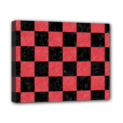 Square1 Black Marble & Red Colored Pencil Canvas 10  X 8  by trendistuff