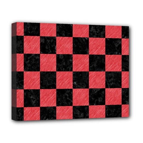 Square1 Black Marble & Red Colored Pencil Deluxe Canvas 20  X 16   by trendistuff