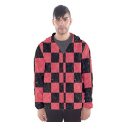 Square1 Black Marble & Red Colored Pencil Hooded Wind Breaker (men)