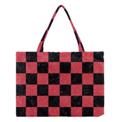 Square1 Black Marble & Red Colored Pencil Medium Tote Bag by trendistuff