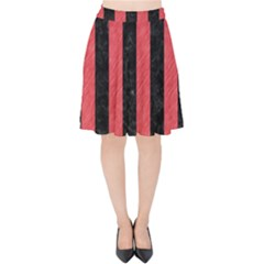 Stripes1 Black Marble & Red Colored Pencil Velvet High Waist Skirt