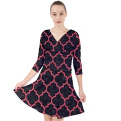 Tile1 Black Marble & Red Colored Pencil (r) Quarter Sleeve Front Wrap Dress