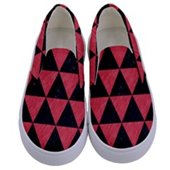 Triangle3 Black Marble & Red Colored Pencil Kids  Canvas Slip Ons