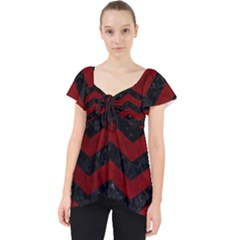 Chevron3 Black Marble & Red Grunge Lace Front Dolly Top