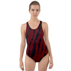 Skin3 Black Marble & Red Grunge Cut Out Back One Piece Swimsuit