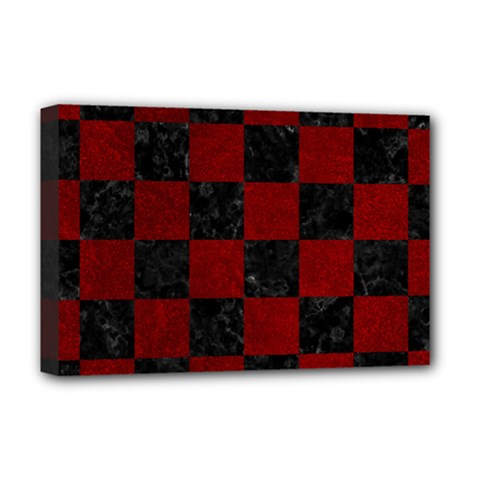 Square1 Black Marble & Red Grunge Deluxe Canvas 18  X 12   by trendistuff