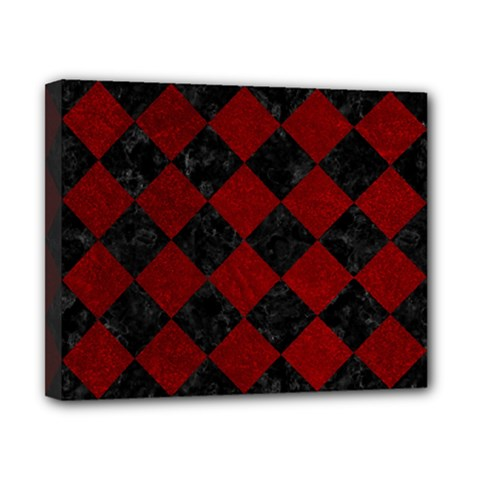 Square2 Black Marble & Red Grunge Canvas 10  X 8  by trendistuff