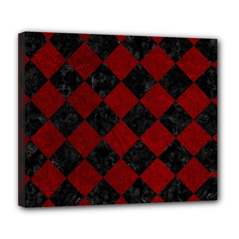 Square2 Black Marble & Red Grunge Deluxe Canvas 24  X 20   by trendistuff