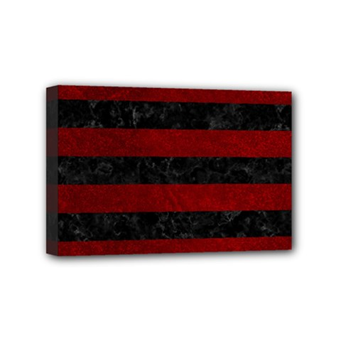 Stripes2 Black Marble & Red Grunge Mini Canvas 6  X 4  by trendistuff