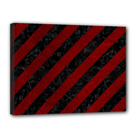 Stripes3 Black Marble & Red Grunge (r) Canvas 16  X 12  by trendistuff