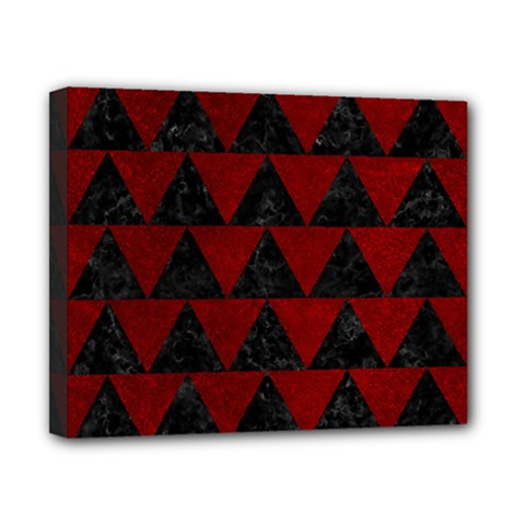 Triangle2 Black Marble & Red Grunge Canvas 10  X 8  by trendistuff