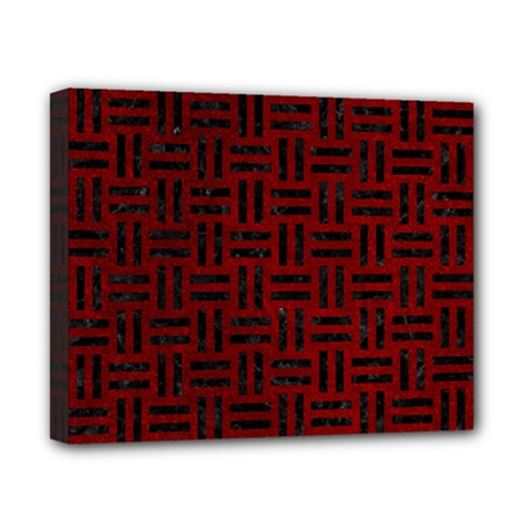 Woven1 Black Marble & Red Grunge Canvas 10  X 8  by trendistuff