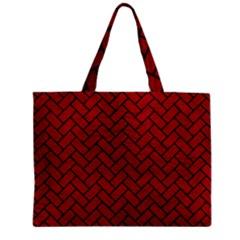 Brick2 Black Marble & Red Leather Zipper Mini Tote Bag by trendistuff