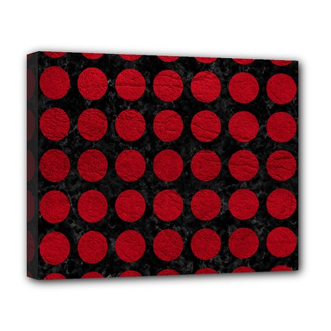Circles1 Black Marble & Red Leather (r) Deluxe Canvas 20  X 16   by trendistuff