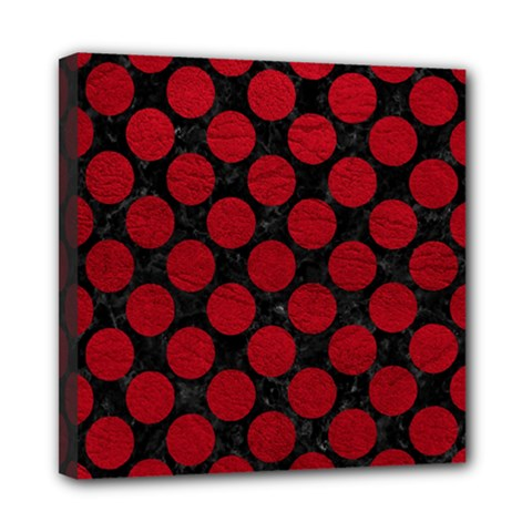 Circles2 Black Marble & Red Leather (r) Mini Canvas 8  X 8  by trendistuff