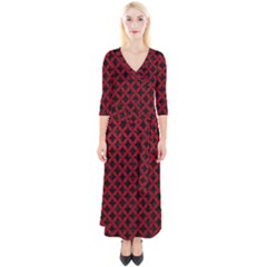 Circles3 Black Marble & Red Leather (r) Quarter Sleeve Wrap Maxi Dress