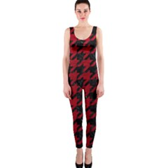 Houndstooth1 Black Marble & Red Leather Onepiece Catsuit by trendistuff