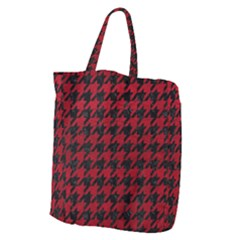 Houndstooth1 Black Marble & Red Leather Giant Grocery Zipper Tote by trendistuff