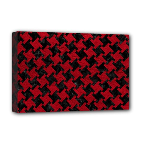 Houndstooth2 Black Marble & Red Leather Deluxe Canvas 18  X 12   by trendistuff