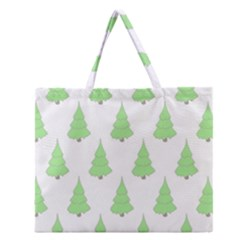 Background Christmas Christmas Tree Zipper Large Tote Bag by Onesevenart