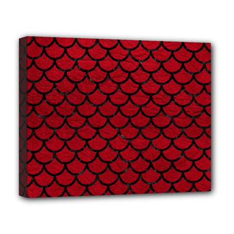 Scales1 Black Marble & Red Leather Deluxe Canvas 20  X 16   by trendistuff