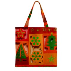 Christmas Design Seamless Pattern Zipper Grocery Tote Bag by Onesevenart