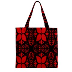 Christmas Red And Black Background Zipper Grocery Tote Bag by Onesevenart