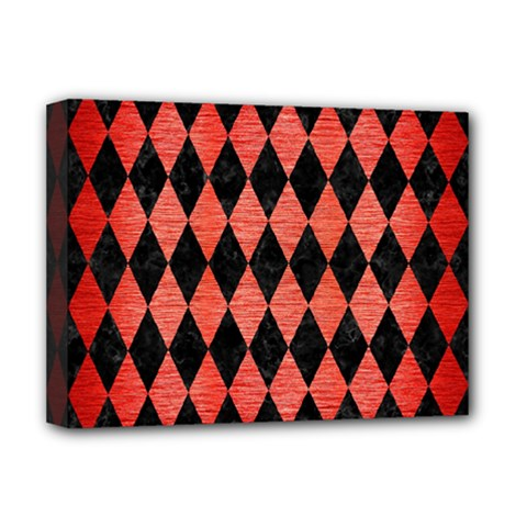 Diamond1 Black Marble & Red Brushed Metal Deluxe Canvas 16  X 12   by trendistuff