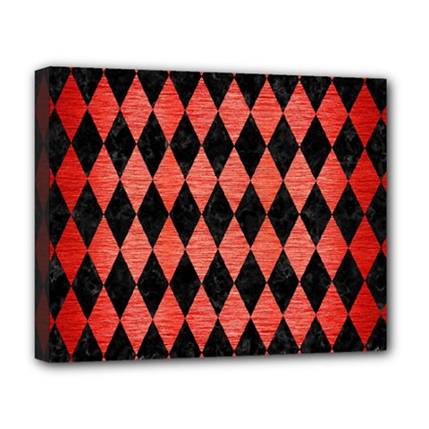 Diamond1 Black Marble & Red Brushed Metal Deluxe Canvas 20  X 16   by trendistuff