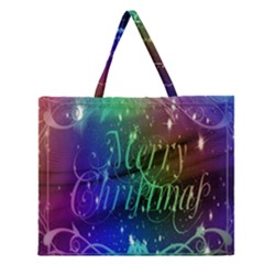 Christmas Greeting Card Frame Zipper Large Tote Bag by Onesevenart