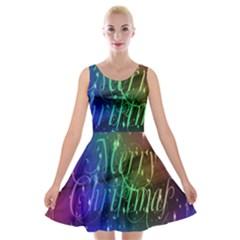 Christmas Greeting Card Frame Velvet Skater Dress by Onesevenart