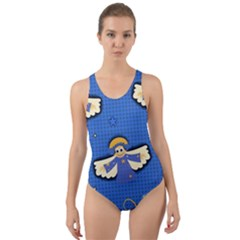 Christmas Holidays Seamless Pattern Cut Out Back One Piece Swimsuit by Onesevenart